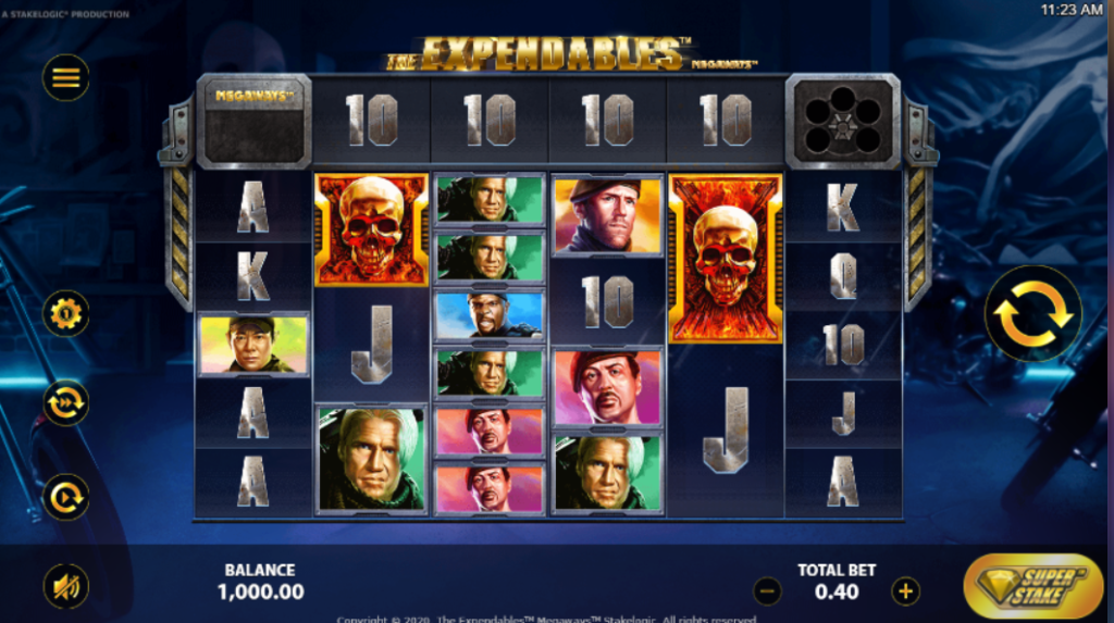 The Expendables Megaways Slot Release Stakelogic Base Game Visuals Art Work