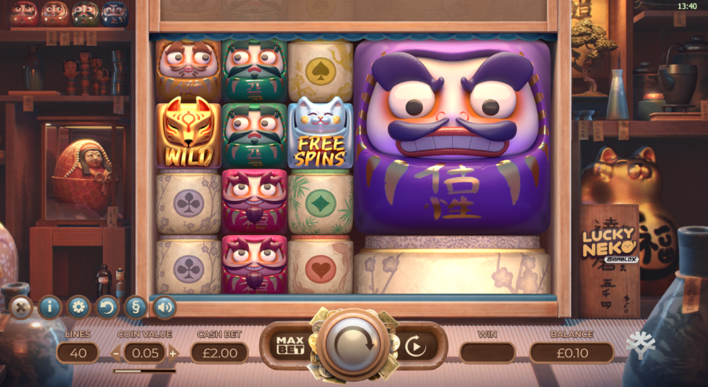 Lucky Neko Gigablox Yggdrasil Gaming Slot Review Casino Visuals Art Work Base Game