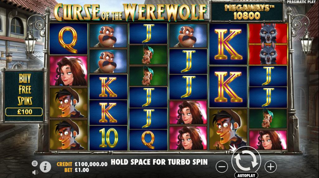 Curse Of The Werewolf Megaways Slot Review Pragmatic Play Visuals Art Work Base Game