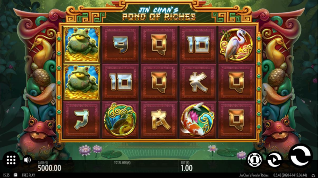 Jin Chan's Pond Of Riches Slot Review Thunderkick Casino Visuals Base Game Art Work