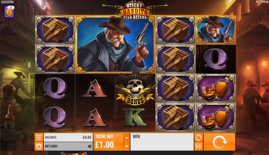 Sticky Bandits Wild Return Slot Review Quickspin Base Game Visuals Art Work