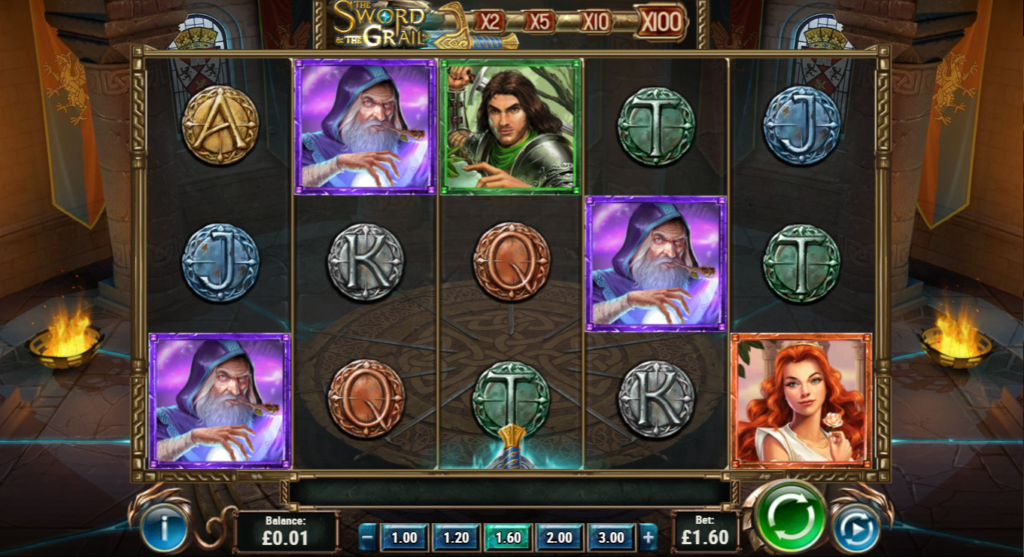The Sword And The Grail Slot Review Play'n Go Visuals Base Game Pay Table Symbols Art Work