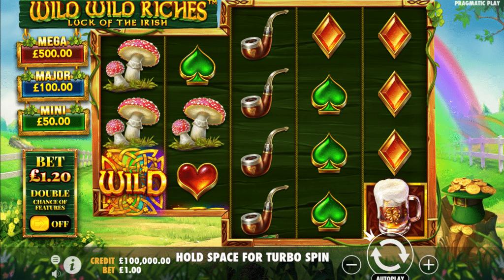 Wild Wild Riches Luck Of The Irish Slot Review Pragmatic Play Visuals Base Game Casino Symbols