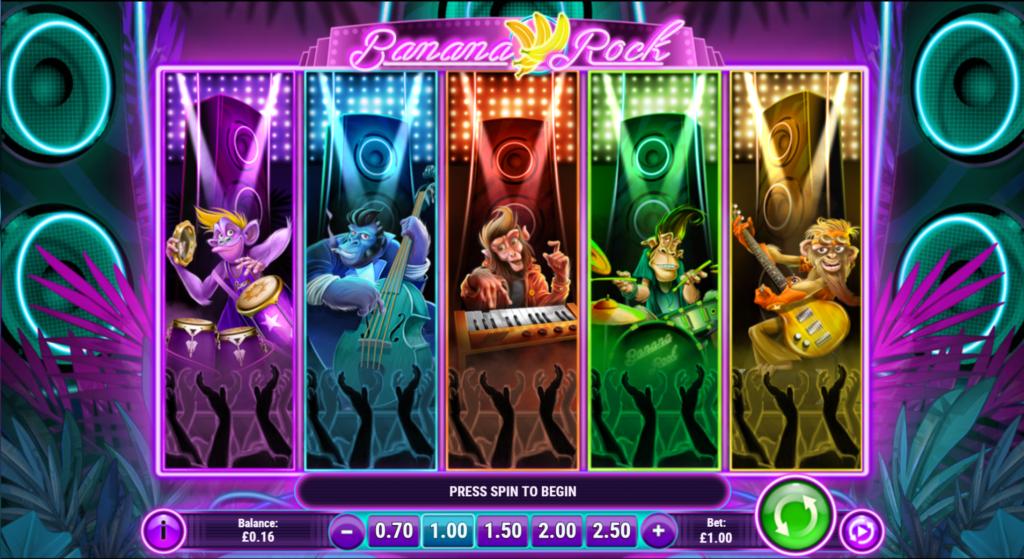 Banana Rock Slot Review Play'n Go Casino Visuals Symbols Pay Table Base Game