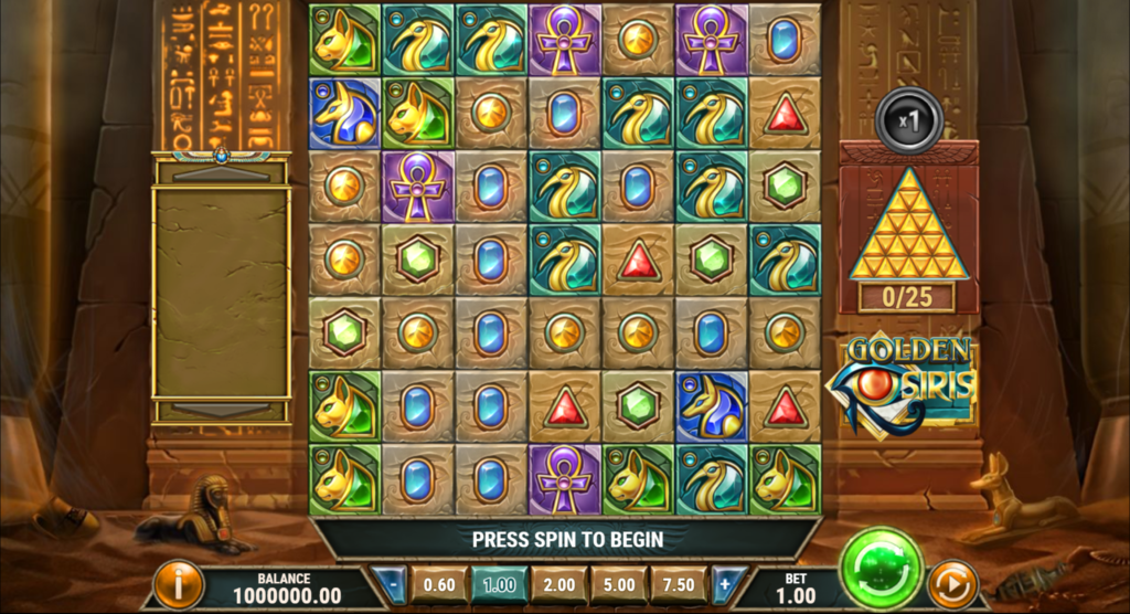 Golden Osiris Slot Review Play'n Go Casino Pay Table Symbols Base Game