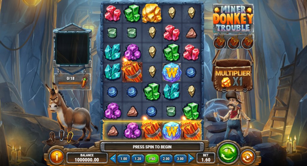 Miner Donkey Trouble Slot Review Play'n Go Visuals Base Game Pay Table Casino