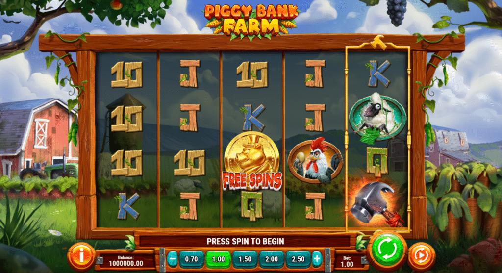 Piggy Bank Farm Slot Review Play'n Go casino Visuals Base Game Symbols Pay Table