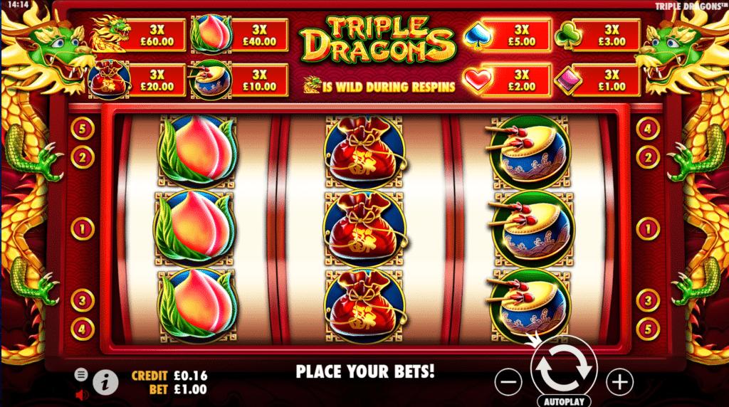 Triple Dragons Slot Review Pragmatic Play Casino Visuals Base Game Pay Table Symbols