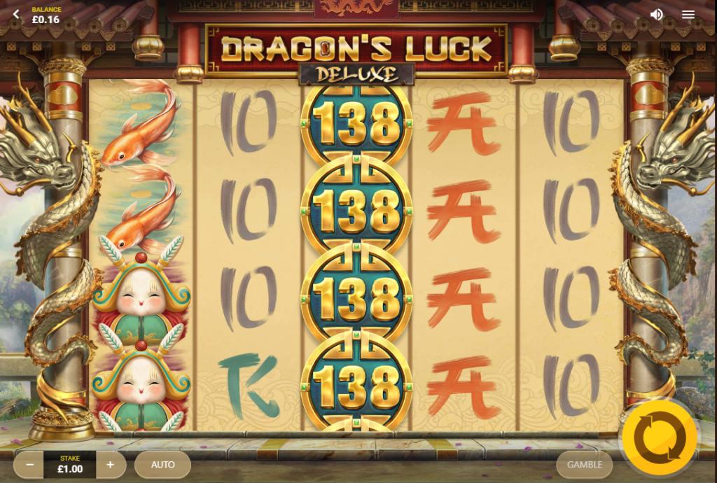 Dragon's Luck Deluxe Slot Review  Red Tiger Gaming Visuals Base Game Bonus Volatile Symbols