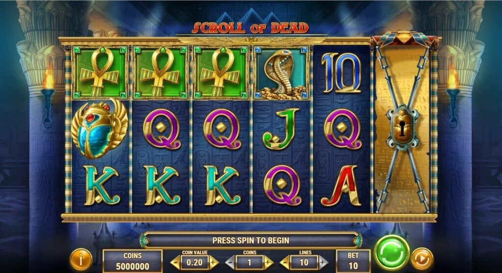 Scroll Of Dead Slot Review  Play'n Go Visuals Volatile Bonus Casino